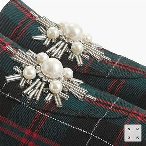 J. Crew Shoes - J Crew, Embellished loafers in festive plaid!